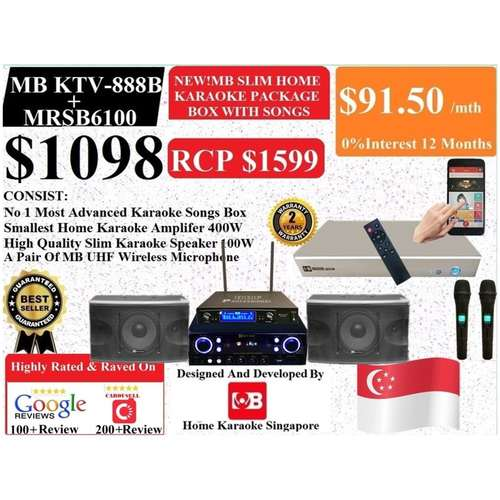 [SG] MB Karaoke MB KTV-888 Box + MRSB6100 Home Karaoke System Package Songs Cover With Copyright License