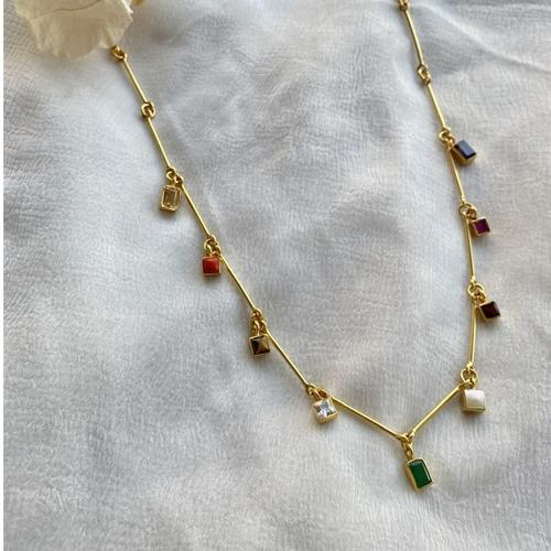 Navratana Bar Necklace