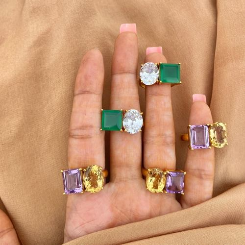 Green onyx - Swarovski Ring