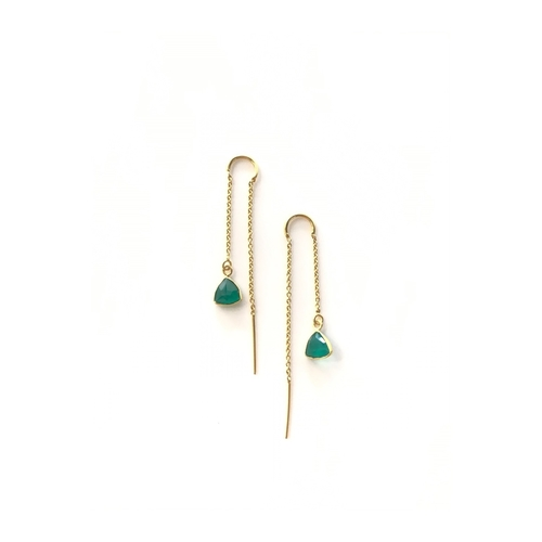 Green Onyx Threader- Gold