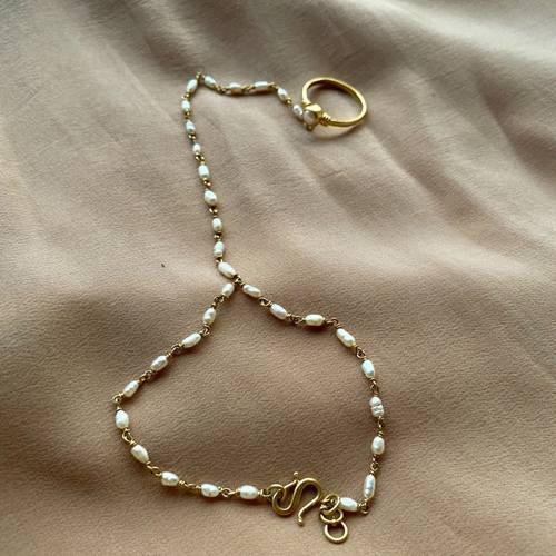 Pearl Ring chain bracelet Haathphool