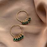 Pear Emerald Hoops