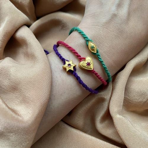 Eye charm Rakhi Bracelet Emerald