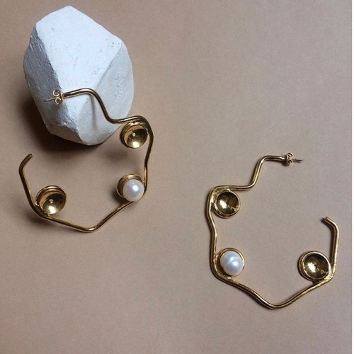 Uneven Pearl Hoops
