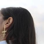 Cross Line Earrings