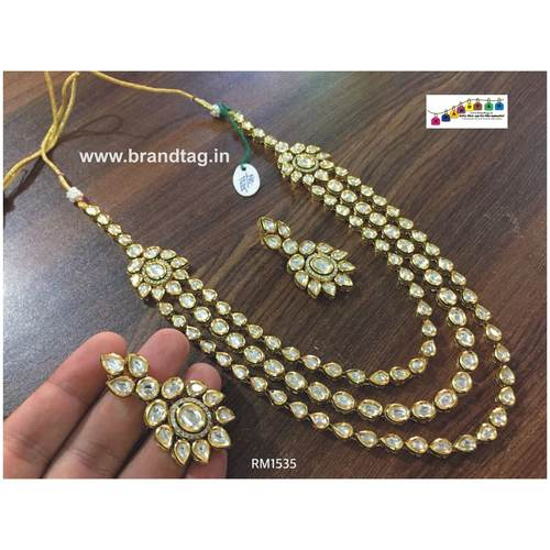 Enticing Three Layered Long High Quality Kundan Necklace set !