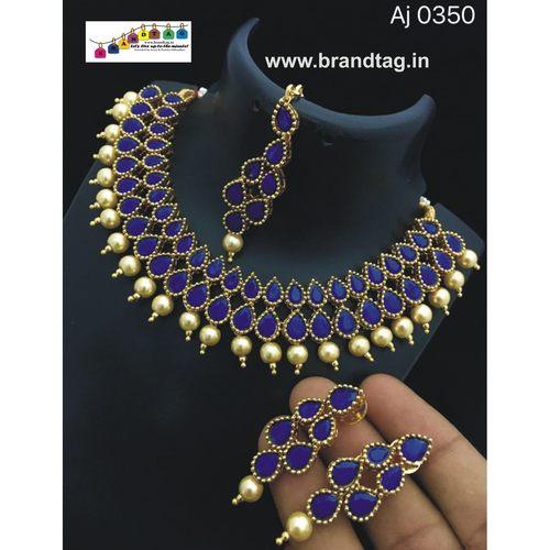 Beautifully Designed Blue Stones Necklace set !