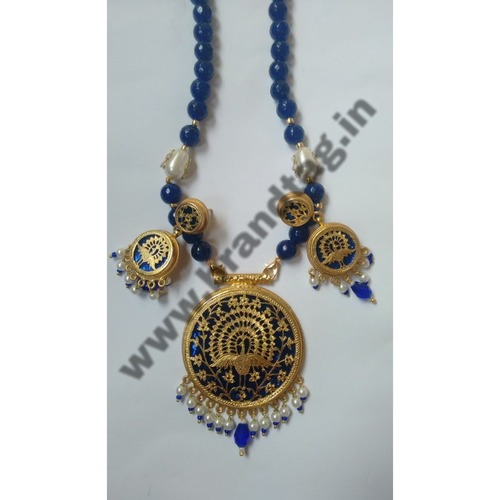 Royal Blue & Golden Authentic Original Thewa Art Jewellery set for women !