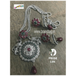 Exclusive Diwali Collection - Silver Twin Peacock Long Pendant Set!