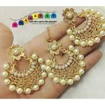 Shiny White & Golden Mangtikka + Earrings Combo!