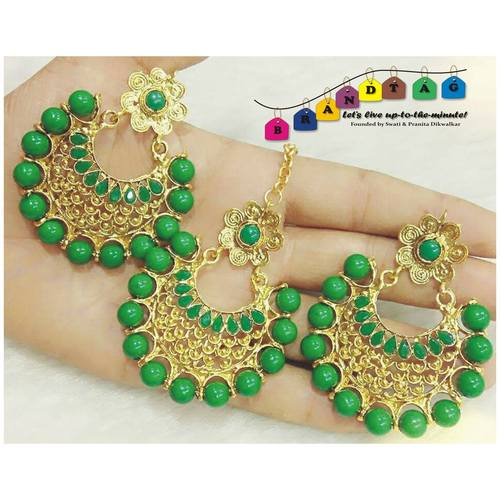 Leafy Green & Golden Magtikka + Earring Combo!