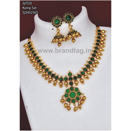 Beautifully Designed Green & Golden Round Shaped Neck fitted Necklace set !