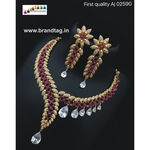 Mesmerizing Beautifully designed Golden Leaf  Diamond Necklace set!!