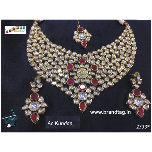 Ethnic Ac Kundan Neck fitted Necklace set !