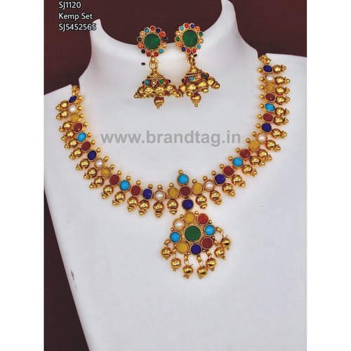 Multi colored Round shaped Neck fitted Necklace set !!