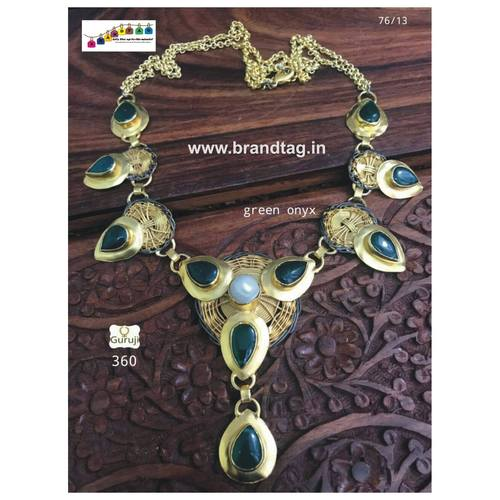 Golden Necklace with Green Onyx work!