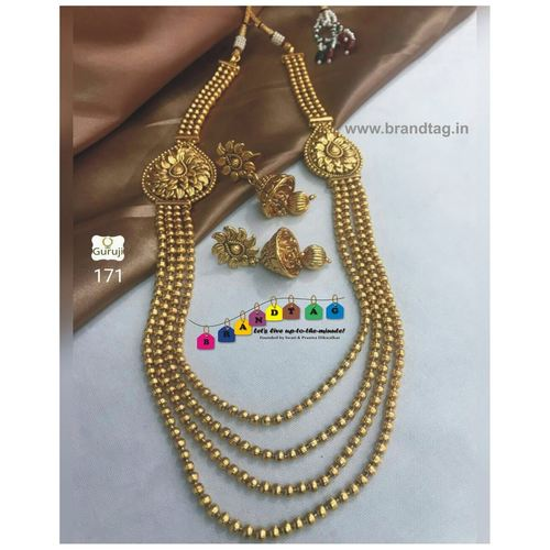 Traditional Golden Pearl Necklace Set!!