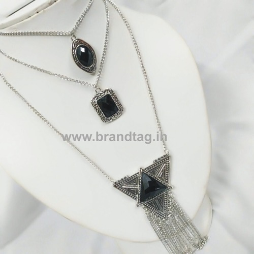 Valentine's Day Collection . . . Black Three Layered Silver Oxidized Neck-piece for women !