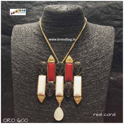 Dussehra Collection...Contemporary Real Coral Ora Necklace!!