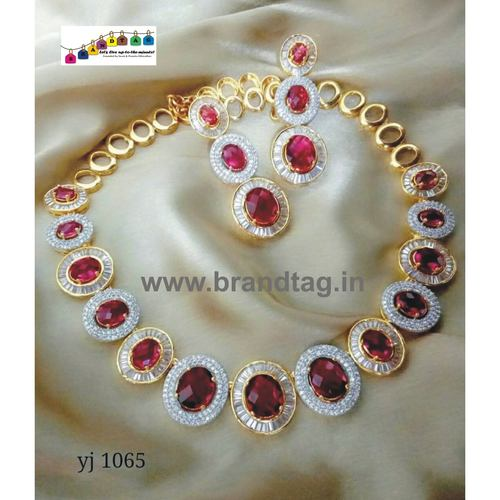 Special Navratri Collection...Contemporary Golden Diamond and Stones Necklace Set!!