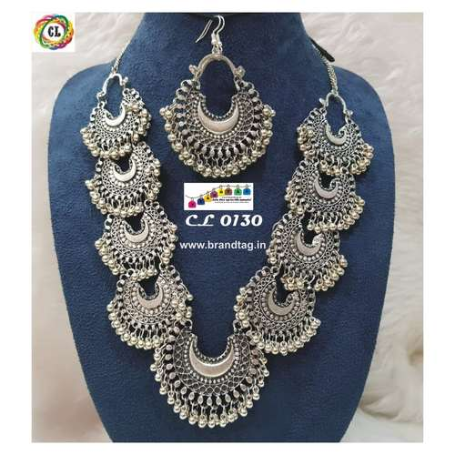 Enthralling Silver Oxidized Necklace set !