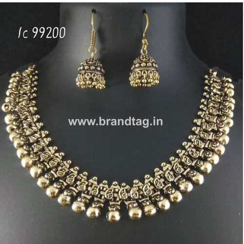 Oxidized Neck fitted Round Shaped Golden Necklace set !!