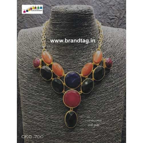 Valentine's Day Collection !! Contemporary Coral & Jade Necklace !!