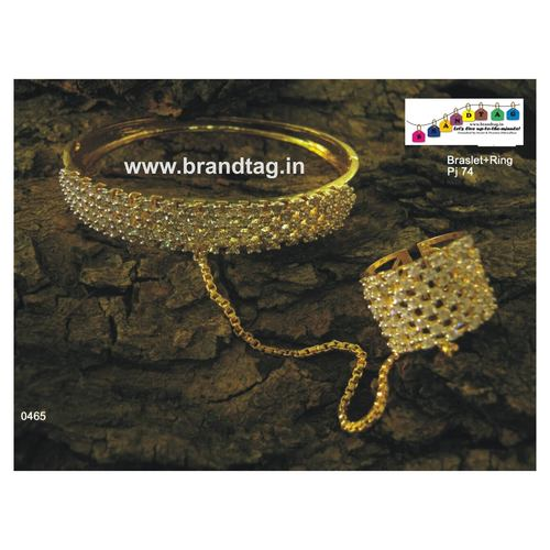 Diamond Studded Kada Bracelet with Ring!