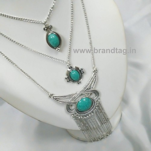 Valentine's Day Collection . . . Sea Green Three Layered Silver Oxidized Neck-piece for women !
