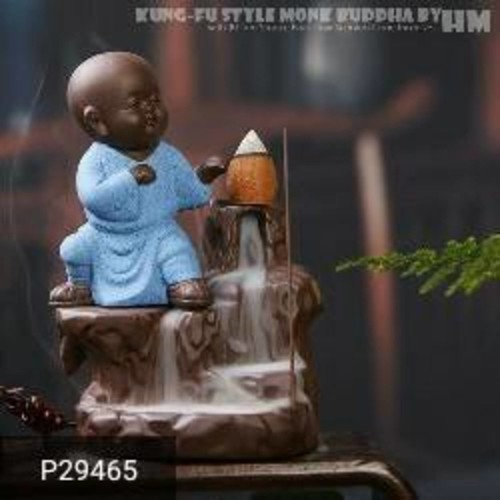 Handmade Little Buddha Smoke Back-flow Fountain Statue!