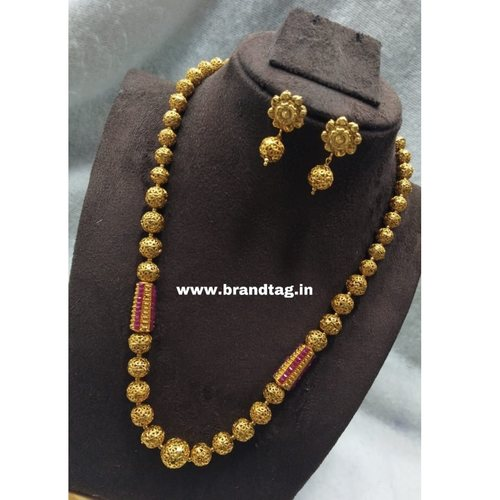 BrandTag's Golden Beaded Charu Necklace set !