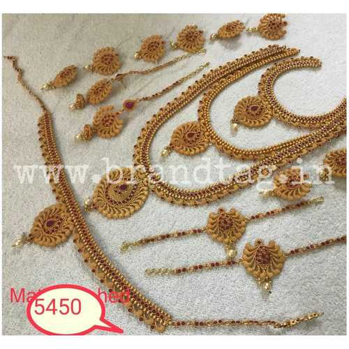 Elegantly Designed Golden Matt finished Bridal Combo Necklace set !