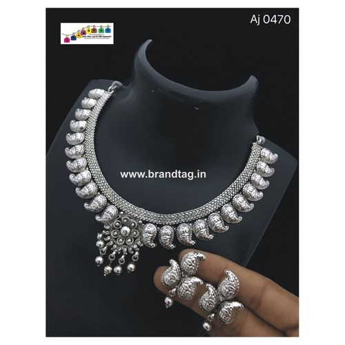 Silver Oxidized Koyari Neck - fitted Necklace set !