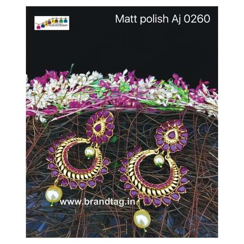 Stunning Matt Polished Pink Stones Earrings !