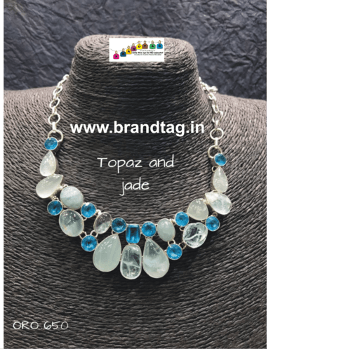 Valentine's Day Collection !! Contemporary Neck fitted Topaz Necklace !!
