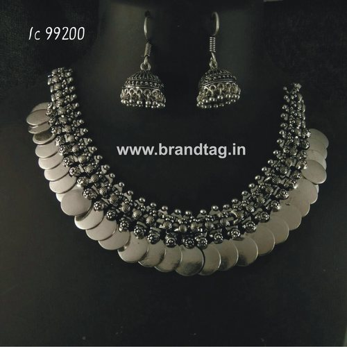 Oxidized  Plain Coin Neck fitted Round Shaped Necklace set  !!