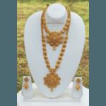Fine-looking Matte Finished Golden Bridal Necklace set !