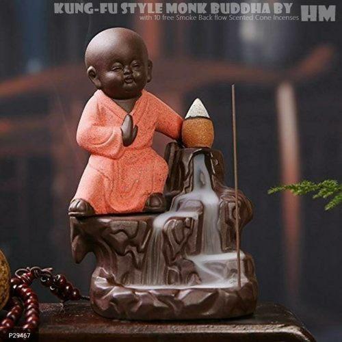 Handmade Little Buddha Smoke Back-flow Fountain Statue!