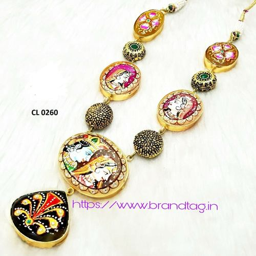 BrandTag's Radha Krishna Tanjore Stone Hand Printed Necklace for women !