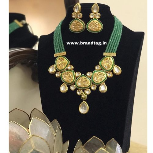 BrandTag's Exclusive Choker Necklace set made from Net Kundan and Jade Beads !