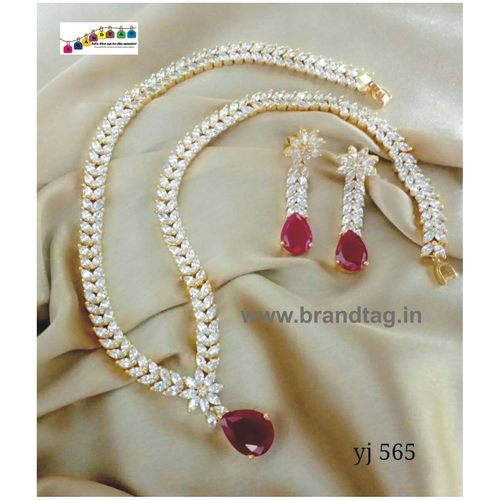 Special Navratri Collection...Eye pleasing Long Diamond Necklace Set!!