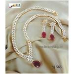 Special Navratri Collection...Eye pleasing Long Diamond Necklace Set!!