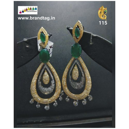 Christmas Collection !! Green Almond Shaped Long Earrings !!
