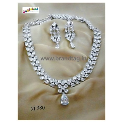 Special Navratri Collection...Modern Beautifully Designed White Diamond Necklace Set!!