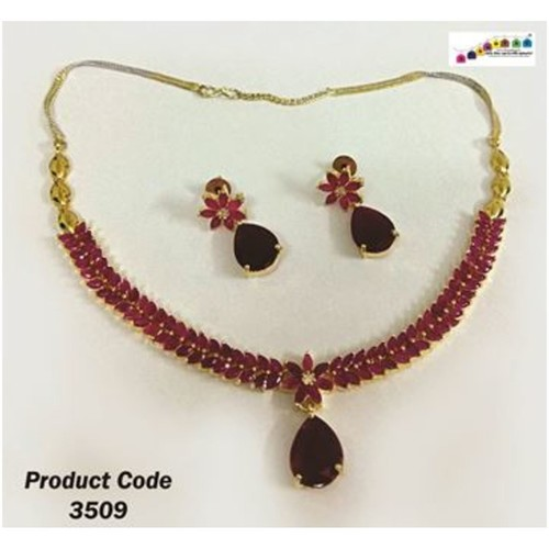 Finely Designed Ruby Necklace Set  with Dual color Chain !