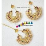 Stunning multi colored pearl Mangtikka combo!!