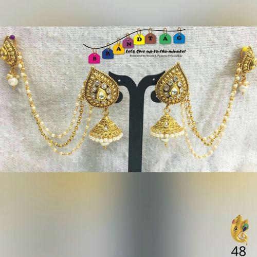 Devsena Earrings with Kan Chain!