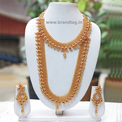 Elegantly Beautiful Long Golden Bridal Necklace set !