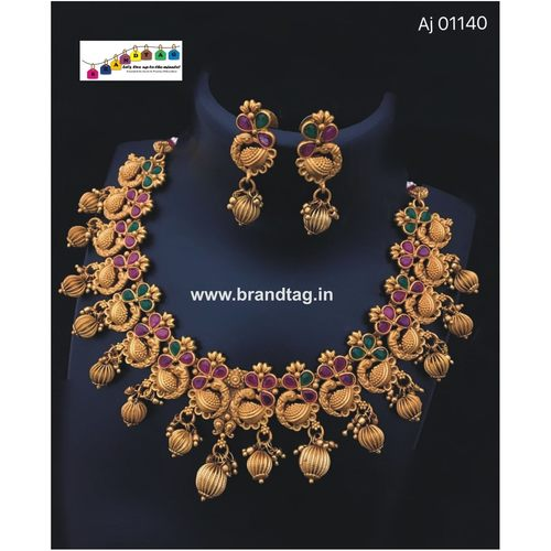 Special Ganesh Festival Collection .Golden Peacock Matt Finished  Neck-fitted Necklace set !