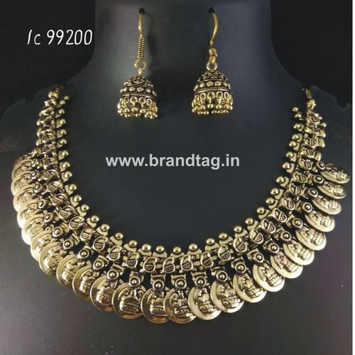 Oxidized Lakshmi Coin Neck fitted Round Shaped Golden Necklace set !!